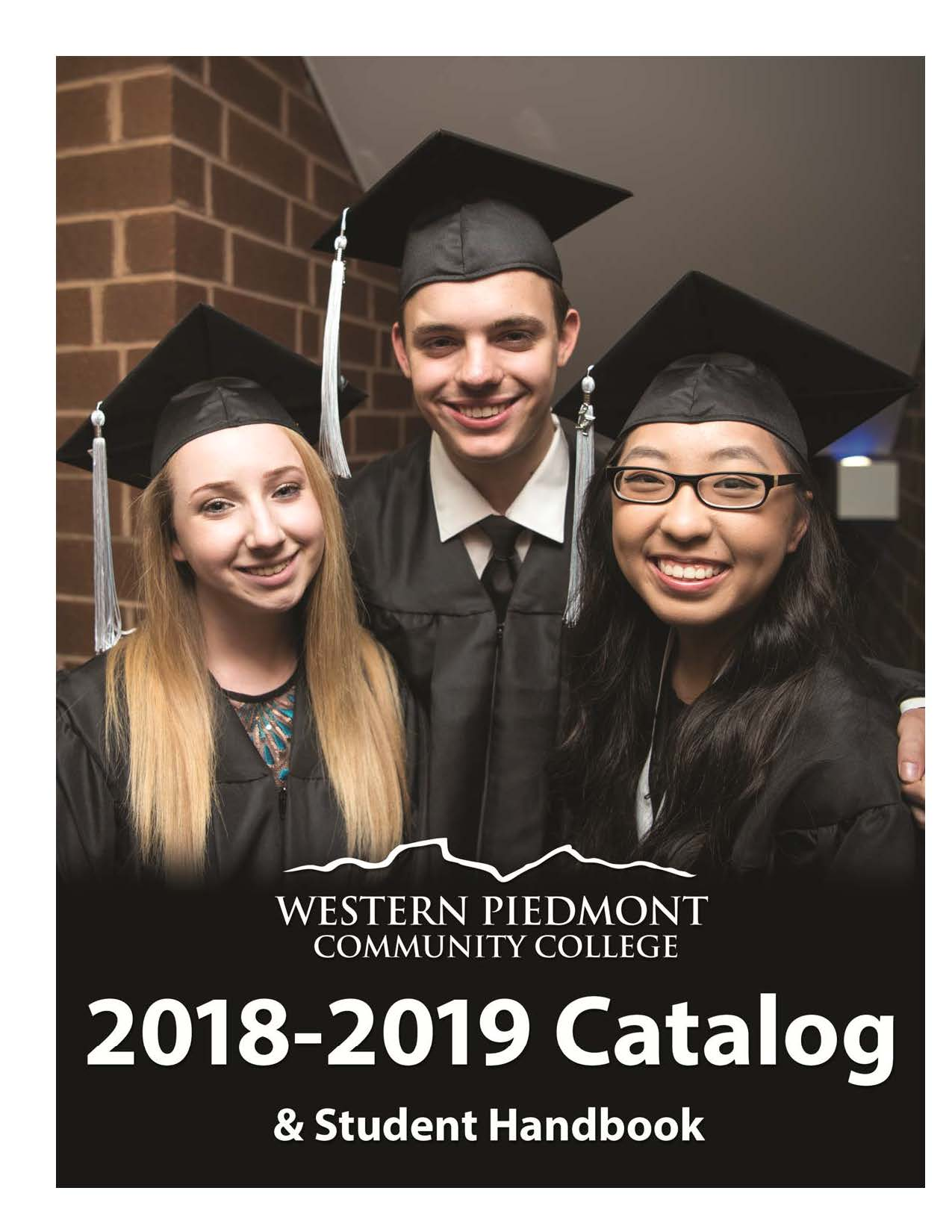 2018-2019 WPCC Catalog cover showing students at graduation.